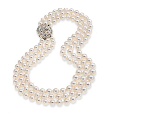 A South Sea cultured pearl and diamond necklace, Van Cleef & Arpels