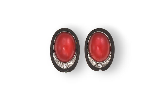 A pair of art deco coral and diamond earclips and ring, Marsh & Co,