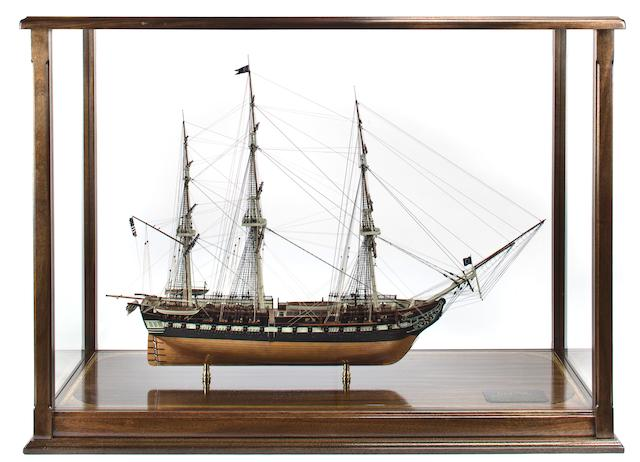 A model of the U.S.S. Constitution 48-1/4 x 19 x 63-1/2 in. (122.5 x 48.2 x 161.2 cm.) model on stand. 2