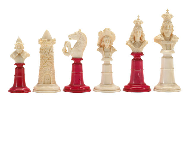 German ivory bust set, 19th century