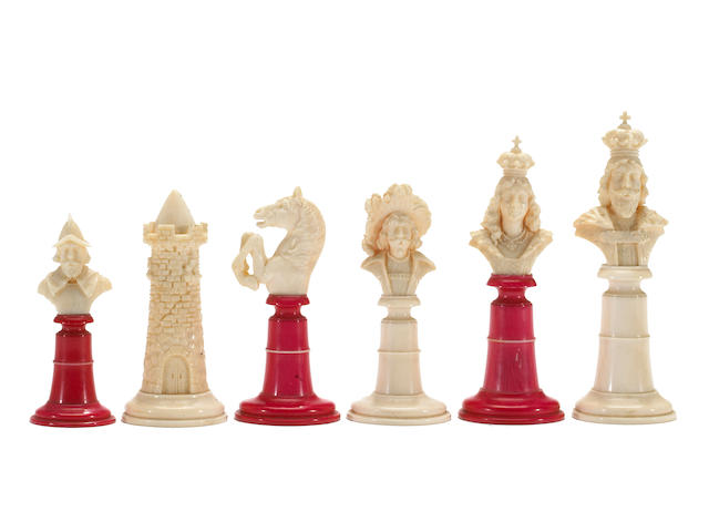 A German carved and stained ivory chess set 19th century