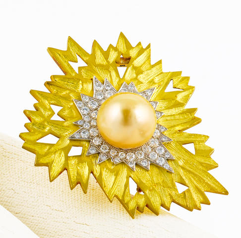 A South Sea cultured pearl and diamond pendant brooch, Andrew Grima