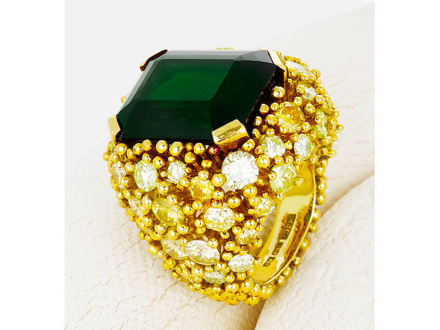 A green tourmaline, colored diamond and diamond ring, Andrew Grima,