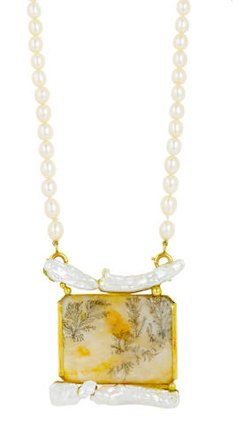 An agate and cultured pearl necklace, Jean Vendome,