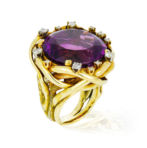 An amethyst and diamond ring, Margaret Moore