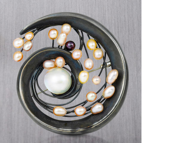 A silver, cultured pearl and mabé cultured pearl brooch, Takashi Wada