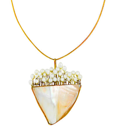 An abalone, cultured pearl and fourteen karat gold necklace, Takashi Wada