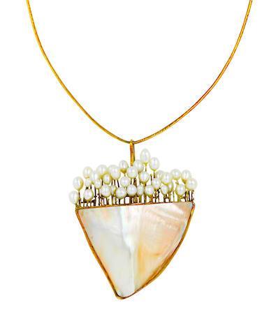 An abalone, cultured pearl and fourteen karat gold necklace, Takashi Wada