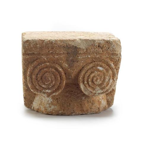A Roman Ionic stone capital