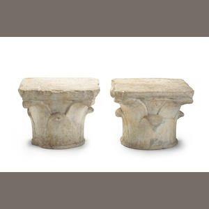 A pair of Romano-Syrian marble capitals. 2nd-5th century CE