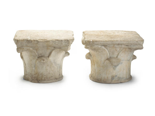 A pair of Romano-Syrian marble capitals<br>2nd-5th century CE