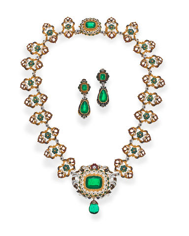 An antique green paste and polychrome enamel necklace and earclips,