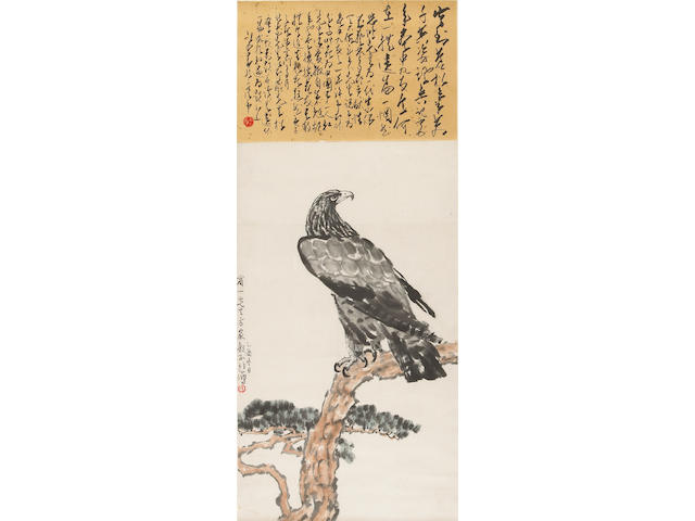 Attributed to Xu Beihong (1895-1953) Eagle on Pine Branch