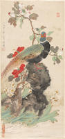 Various artists: After Yu Feian (1889-1959) Birds and Flowers; After Deng Fen (1894-1964) Two Ladies; Attributed to Zheng Naiguang (1911-2005) Two Cats, hanging scroll