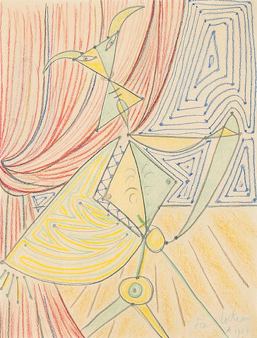 Jean Cocteau (French, 1889-1963) Untitled, 1957 16 1/2 x 13in (41.9 x 33cm)