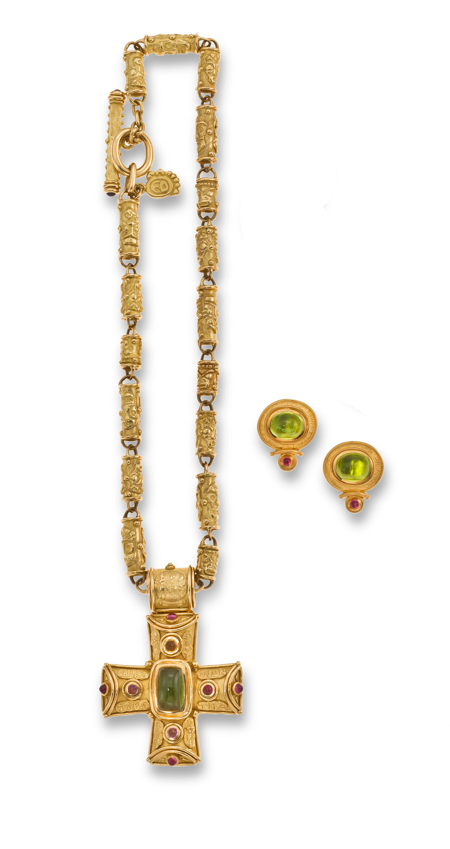 An eighteen karat gold and gem-set pendant necklace and pair of earclips...