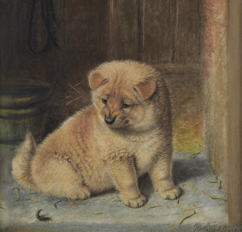 Horatio Henry Couldery (British, 1832-1893) A strange visitor, a Chow Chow puppy 15 3/4 x 16 9/16 in. (40 x 42 cm.)