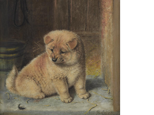 Horatio Henry Couldery (British, 1832-1893) A strange visitor, a Chow Chow puppy