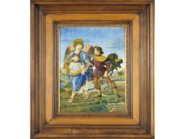 An Italian maiolica and luster plaque: The Archangel Raphael and Tobias  <br>after Sandro Botticelli (Florence, 1445-1510)<br>Ulysses Cantagalli<br>late 19th century