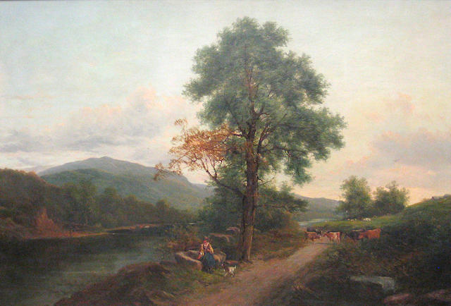 (n/a) Adam Barland (British, fl. 1843-1875) On a country lane 30 x 50in