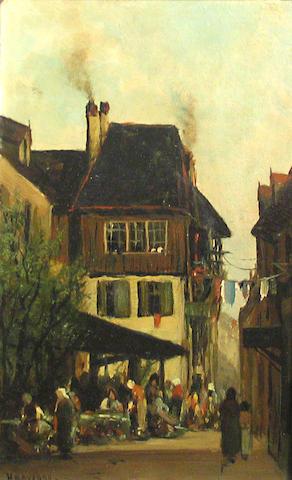 Ransom Gillet Holdredge (American, 1836-1899) Village scene 8 x 5in