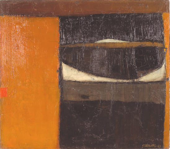 Raimonds Staprans (Latvian/American, born 1926) Black Goat, Orange Sky, 1963 22 x 25in