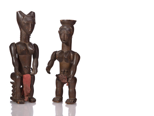 Pair of Ebrie Female Figures, Ivory Coast