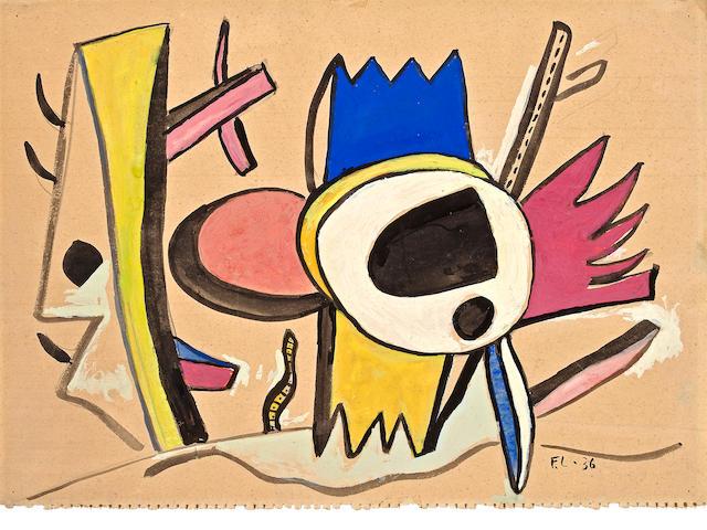 Fernand Léger  (French, 1881-1955) Paysage au Papillon, 1936 10 3/8 x 14 5/8in (26.4 x 37cm)