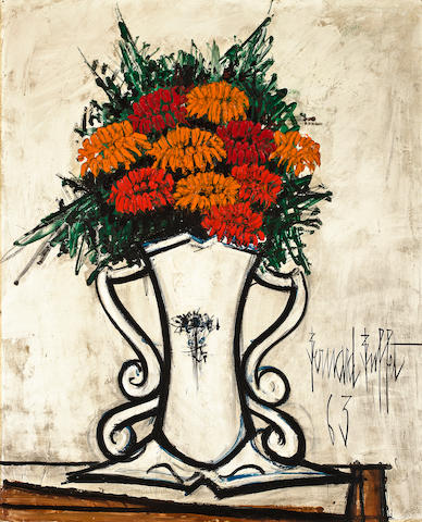 Bernard Buffet (French, 1928-1999) Bouquet de zinnias dans un vase, 1963 39 1/2 x 32 1/8in (100.3 x 81.5cm)