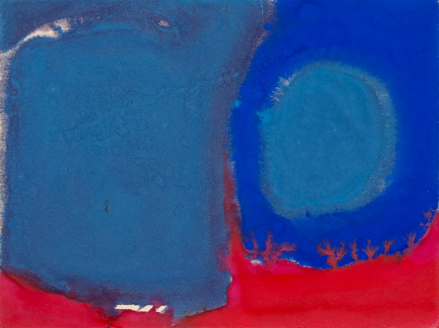 (n/a) Patrick Heron (British, 1920-1999) Atmospheric Purples with Blue and Red, 1966 6 7/8 x 9 1/4in (17.5 x 23.5cm)