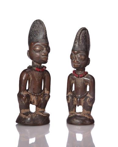 Two Yoruba Male Figures, ibeji, Nigeria