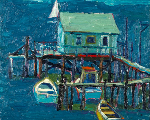 Lundy Siegriest (American, 1925-1985) China Camp, Fishing Boats 16 x 20in