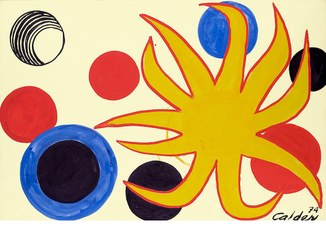 Alexander Calder (American, 1898-1976) Tropique, 1974 29 1/2 x 43 1/4in (75 x 109.8cm)