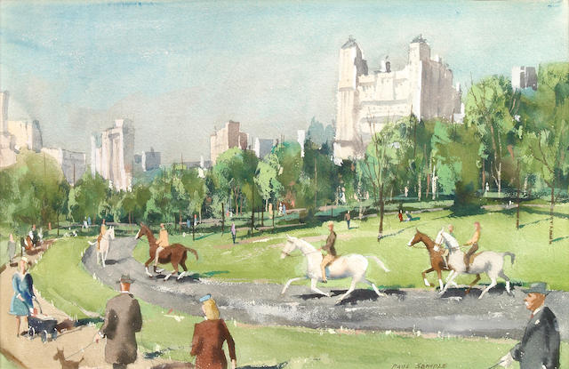 Paul Sample (American, 1896-1974) Sunday Morning (Central Park) 12 1/2 x 19in