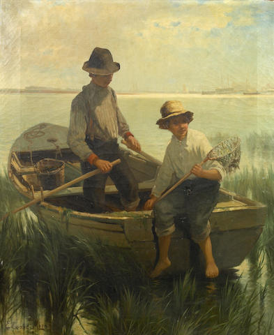 (n/a) Edward Moran (British/American, 1829-1901) Boys out fishing 30 x 25in