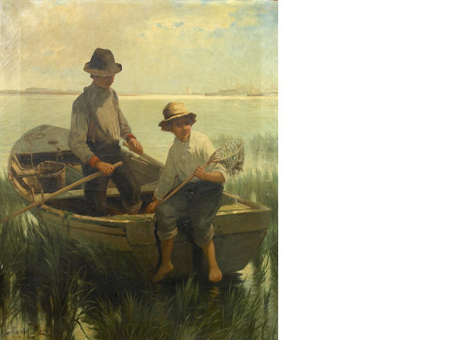 Edward Moran, Boys Fishing in Rowboat, oil on canvas