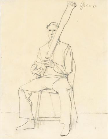 James Weeks (American, 1922-1998) Bassoonist, 1980; Violinist, 1983 (2) each 11 x 8 1/2in
