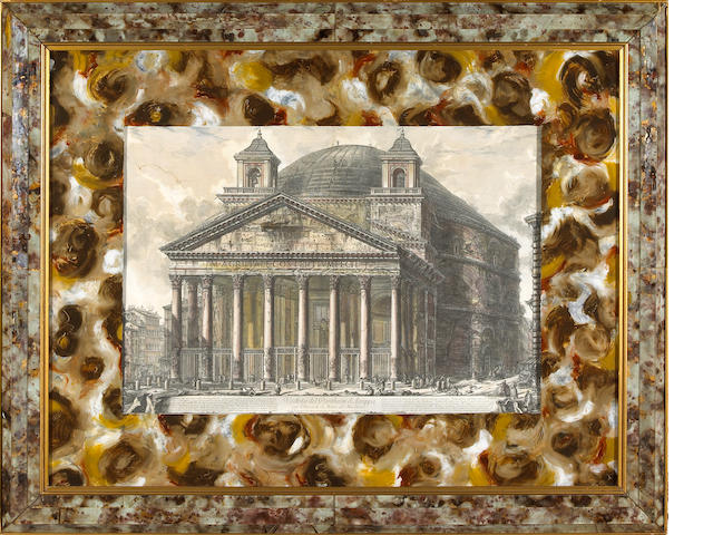 Five prints of Italianate ruins within faux marbleized eglomisé frames