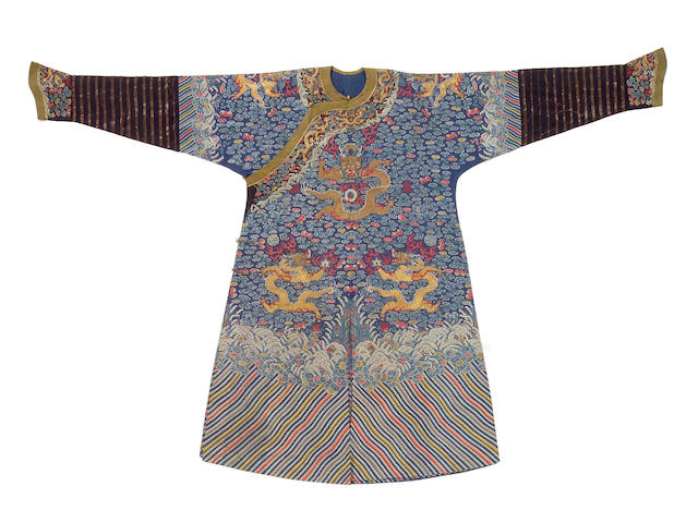 An embroidered blue ground dragon robe 19th Century