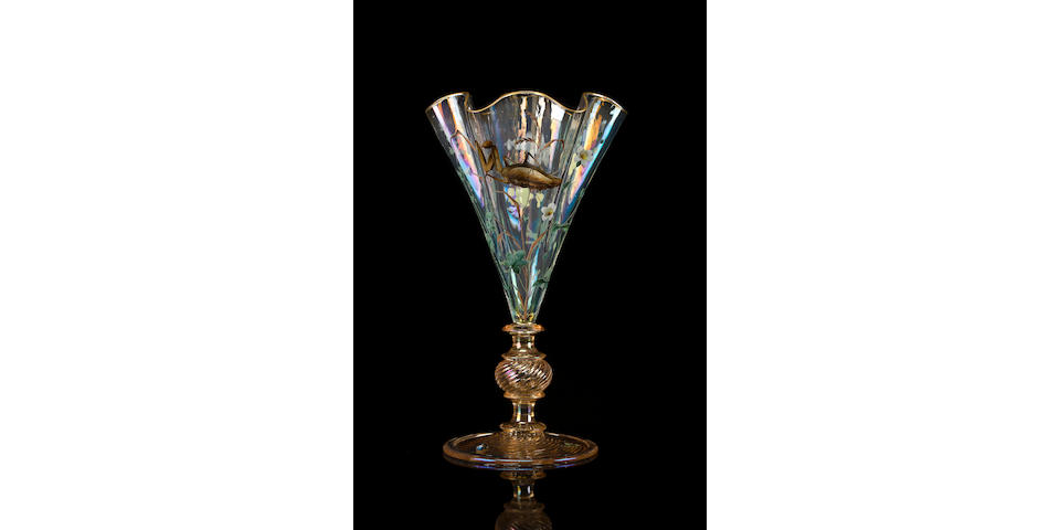 A rare and early Gallé enameled and applied glass Praying Mantis goblet