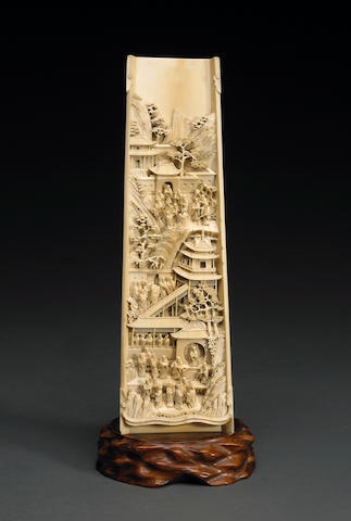 A carved ivory plaque of monks at a mountain temple 19th Century