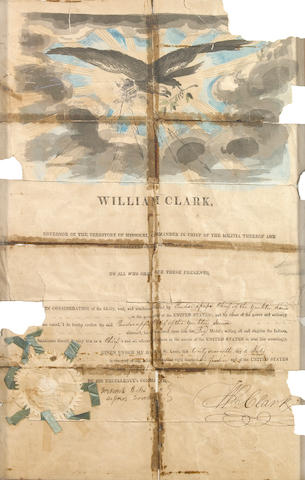 CLARK, WILLIAM (On the wall) Clark Framed Document [government authorization] William Clark, Governor of the Territory of Missouri, Commander in Chief of the Militia thereof and Superintendent of Indian Affairs, to all who shall see these presnts ... [and ] signed Wm. Clark [with a seal] 1814.