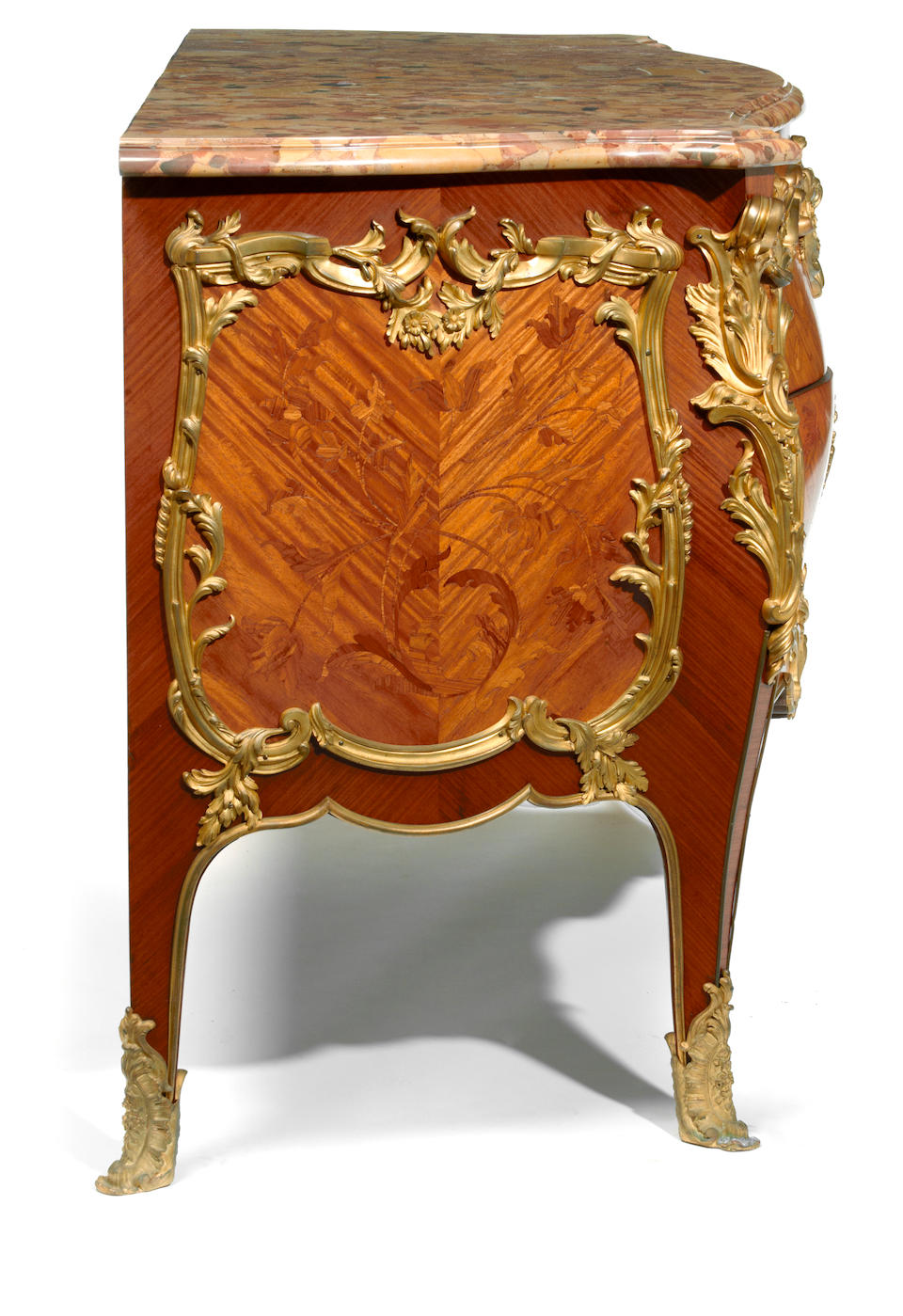A fine Louis XV style gilt bronze mounted and marquetry inlaid walnut commode  Paul Sormani, after a model by Bernard van Risenburgh fourth quarter 19th century