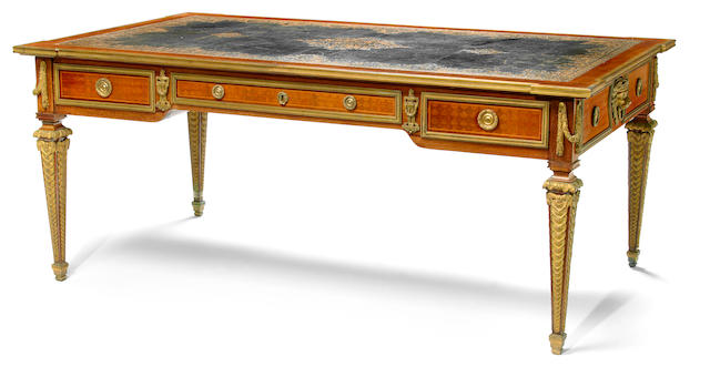 A good quality Louis XVI style gilt bronze mounted inlaid mahogany partners' bureau plat  Edmond Poteau, after a model by Simon Oeben late 19th century
