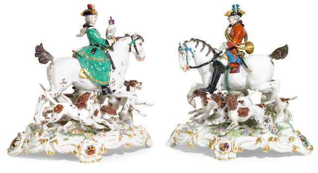 An impressive pair of Meissen porcelain equestrian groups