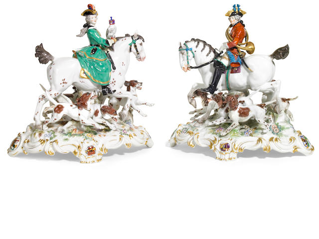 A pair of Meissen porcelain equestrian groups <br>late 19th century