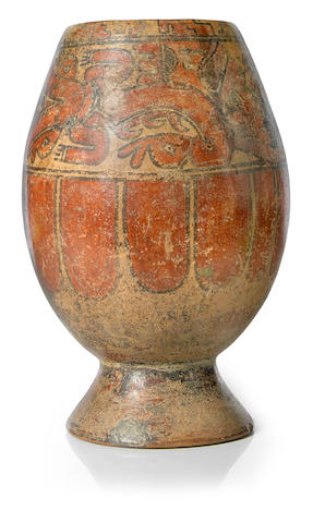 Costa Rican Polychrome Footed Jar, Guanacaste-Nicoya Zone, Period VI, ca. A.D. 1000-1500