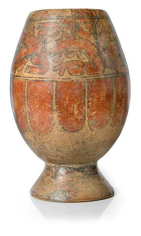 Costa Rican Polychrome Footed Jar, Guanacaste-Nicoya Zone,<br>Period VI, ca. A.D. 1000-1500