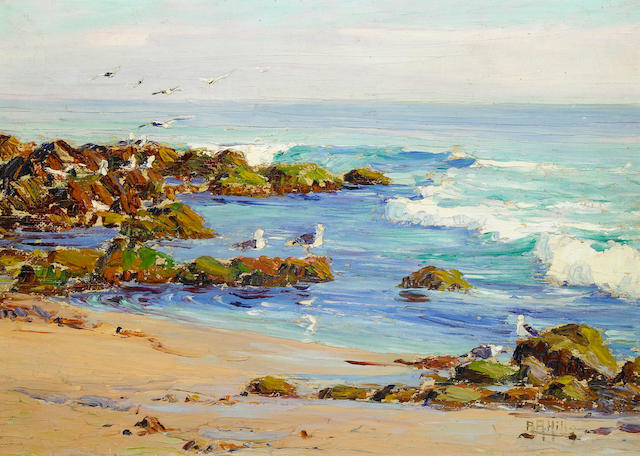 (n/a) Anna Althea Hills (American, 1882-1930) Gulls at Play 10 x 14in
