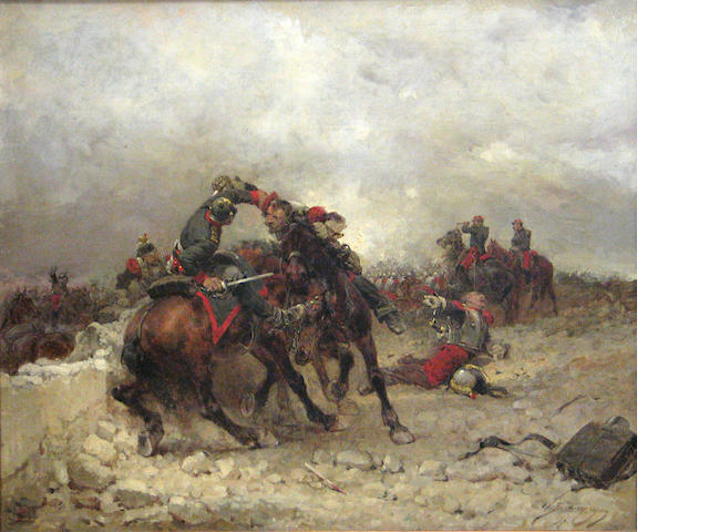 Wilfrid Constant Beauquesne (French, 1840-1913) On the battlefield 21 1/2 x 25 3/4in